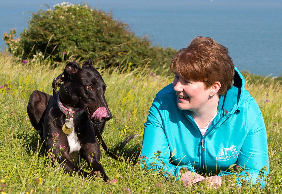 Vet Claire with Dog on Dover cliffs