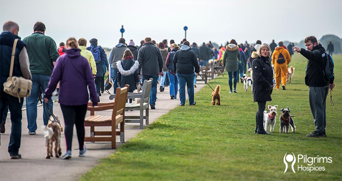 Pet owners enjoying the Paws 4 Pilgrims 5km dog walk in Deal