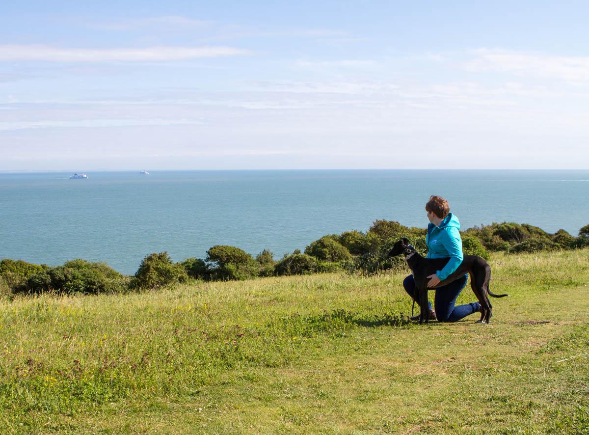 Vet Claire walking her Dog on Dover cliffs