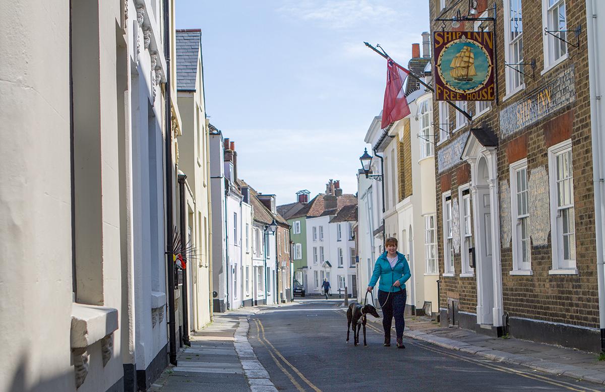 Independent vet walking dog in Deal, Kent